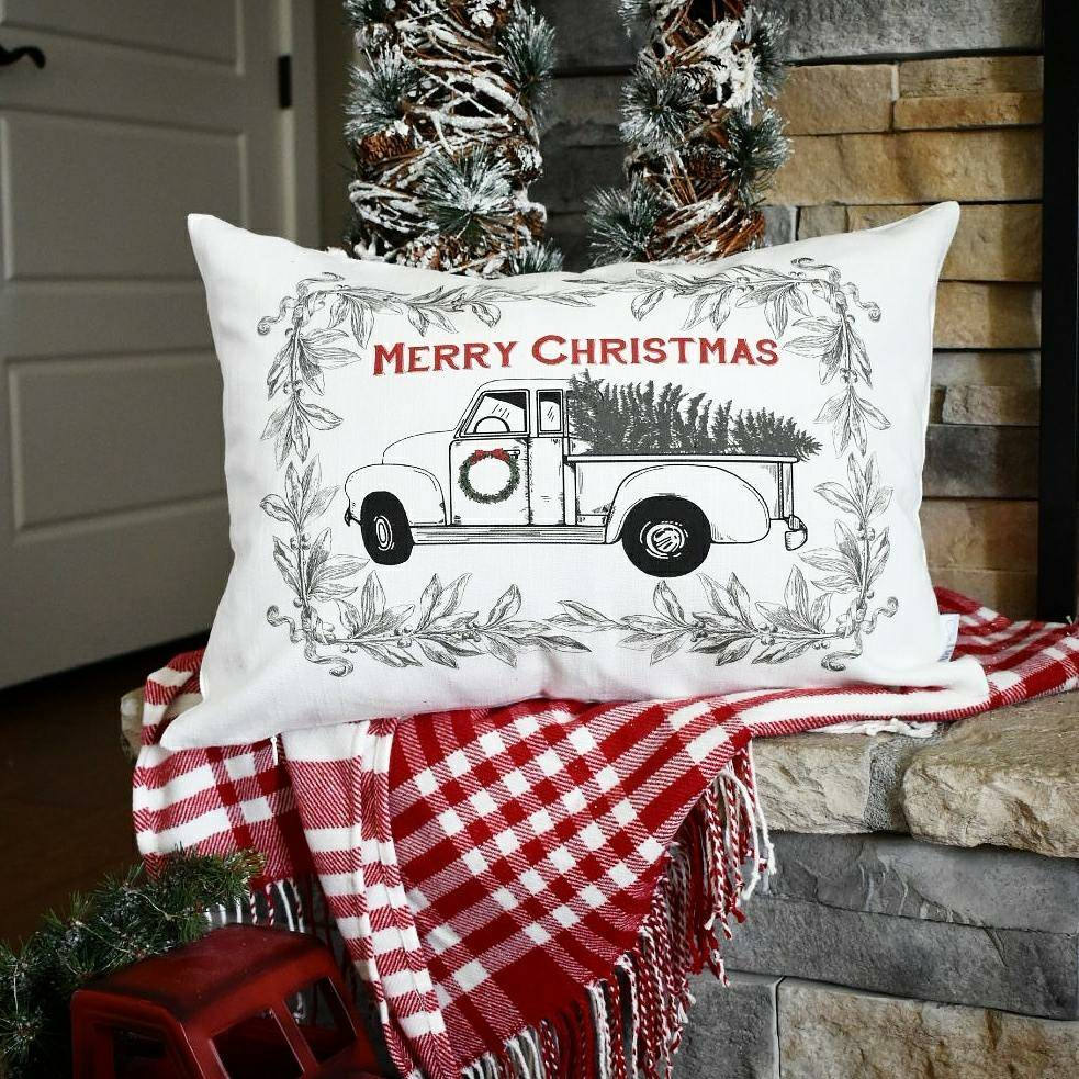 Hand Drawn Vintage Christmas Tree Truck Pillow 14x20 Our