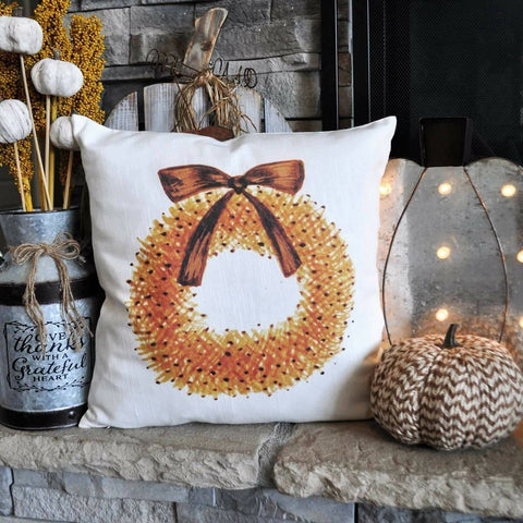 SALE THIS WEEK Only, Fall Pillow Cover, Hello Autumn, Fall Decor, Fall pillow, be thankful, fall wreath