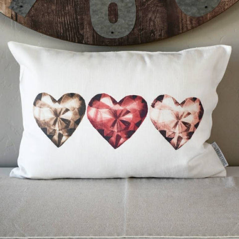 SALE, Valentines Pillow Cover, Valentines Decoration, 14x20 Pillow Cover, diamond hearts