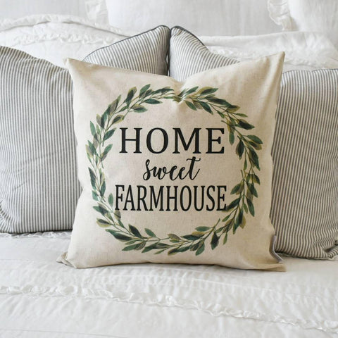 Home sweet farmhouse, Farmerhouse Pillow Cover, rustic Pillow Cover, Spring pillow cover, boxwood wreath, green leaf wreath,18x18