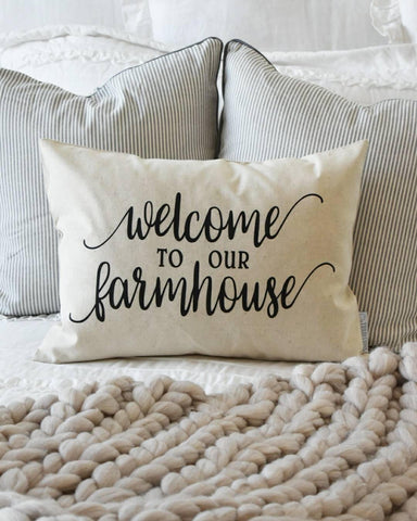 Welcome to our farmhouse, Farmerhouse Pillow Cover, rustic Pillow Cover, Spring pillow cover,14x20