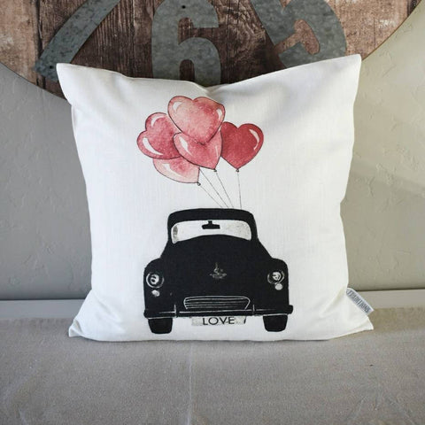 SALE, Valentines Pillow Cover, Valentines Decoration, love bug, vintage car, vintage valentines, 18x18 Pillow Cover