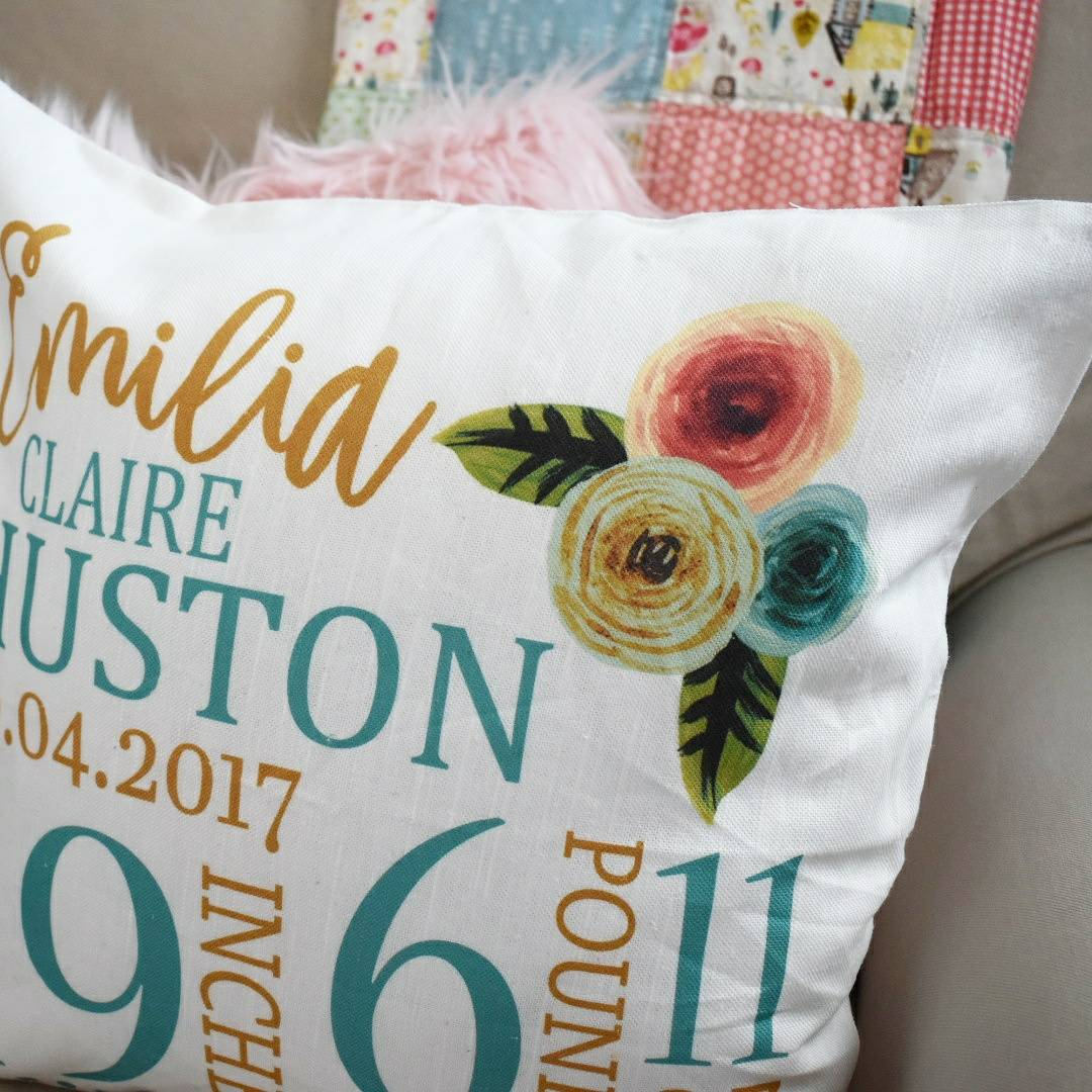 Personalized birth pillow cover, birth Announcement pillow cover, Stats Pillow, baby girl birth pillow, Vintage Nursery, CUSTOMIZE, 18x18