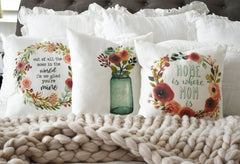 SALE,Mother's Day gift, mother's day pillow cover, mason jar pillow cover, mom's day gift, gift for Mother, watercolor, out of all the mom's
