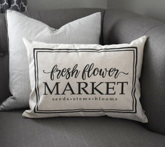 Fresh flower market, Farmerhouse Pillow Cover, rustic Pillow Cover, Spring pillow cover,14x20, flower market