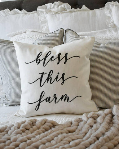 Bless this farm, Farmerhouse Pillow Cover, rustic Pillow Cover, Spring pillow cover, boxwood wreath, green leaf wreath,18x18