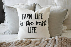 Farm life is the best life, Farmerhouse Pillow Cover, rustic Pillow Cover, Spring pillow cover, boxwood wreath, green leaf wreath,18x18