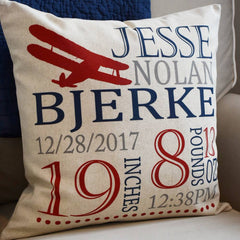 Personalized birth pillow cover, birth Announcement pillow cover, birth pillow cover, boy birth pillow, airplane nursery
