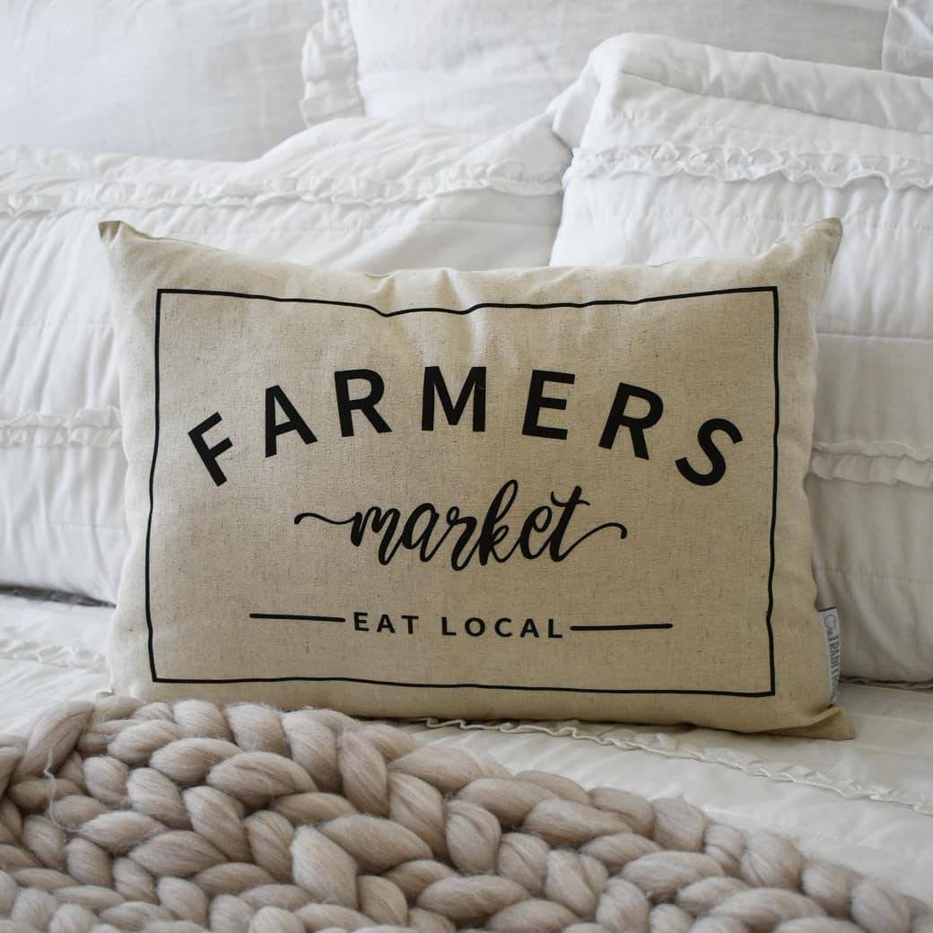Farmers Market, Farmerhouse Pillow Cover, rustic Pillow Cover, Spring pillow cover, 14x20, bolster pillow