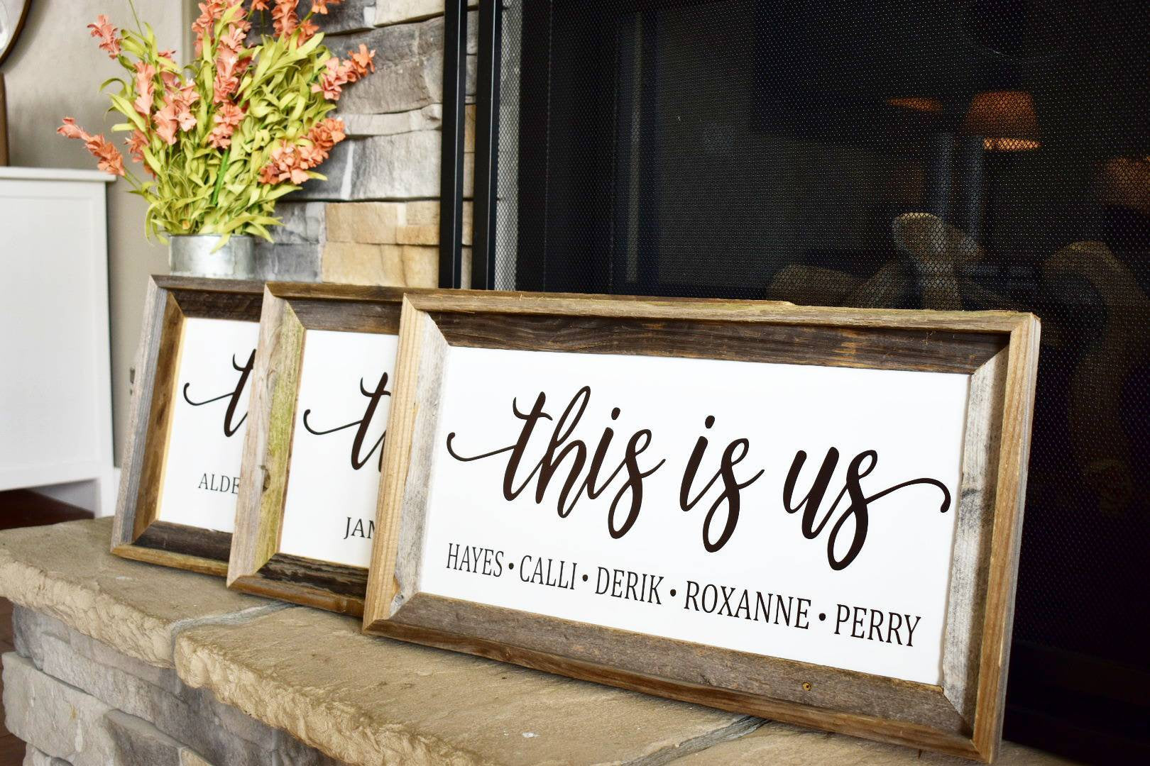 This is us, this is us personalized sign, 10x20 or 12x24, reclaimed wood frame, mothers day gift, family gift