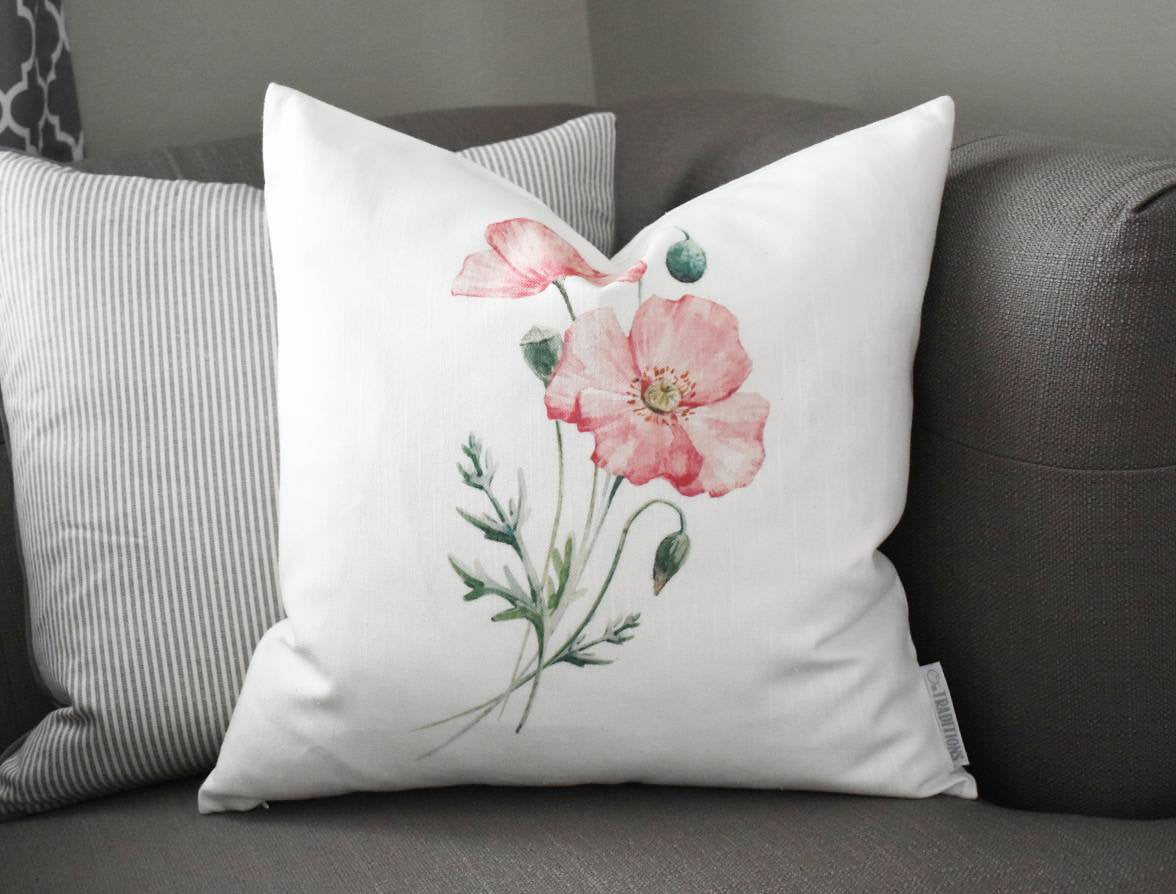 Watercolor flower Pillow Cover,  Spring pillow cover, 18x18, Farmhouse pillow cover, botanical