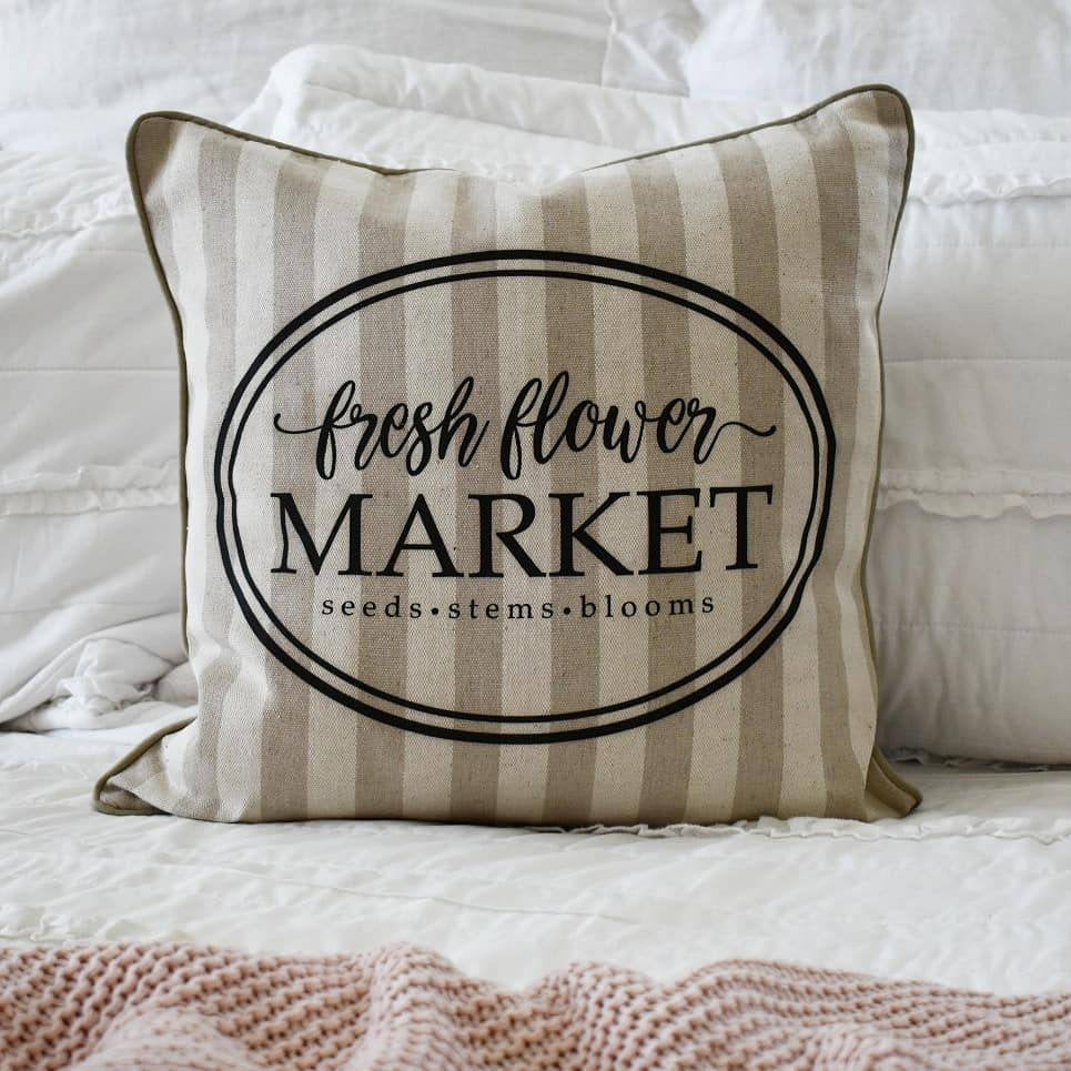 Fresh flower market, Farmerhouse Pillow Cover, rustic Pillow Cover, Spring pillow cover,18x18, flower market