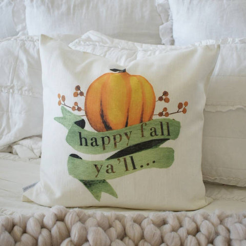 Fall Pillow Cover, happy fall ya'll, Fall Decor, Fall pillow, pumpkin pillow