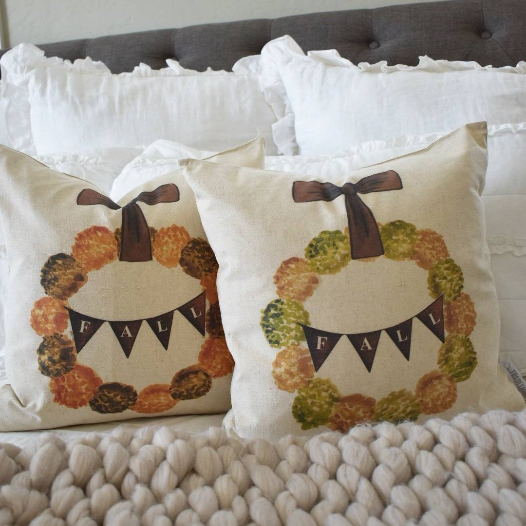 Fall Pillow Cover, fall wreath, Fall Decor, Fall pillow