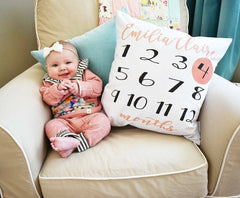 Monthly photo pillow cover, Milestone pillow cover, personalized monthly pillow, monthly baby stickers