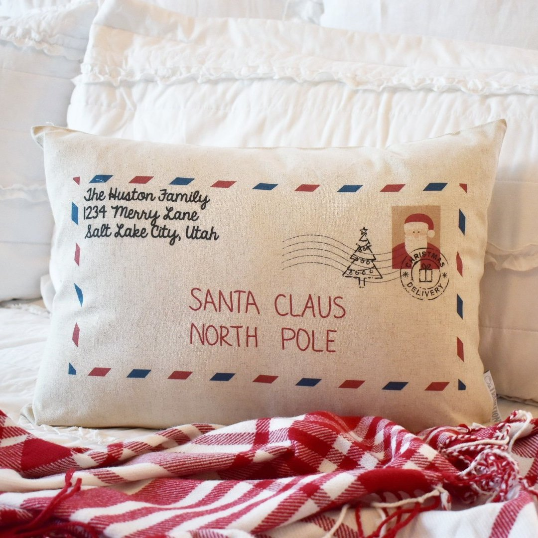 Christmas pillow cover, Letter to Santa, Personalized Christmas Pillow Cover, 14x20