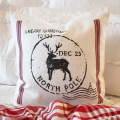 Christmas pillow cover, Christmas, Christmas Tree, Vintage christmas, Christmas Stamp, Letter to Santa, north pole pillow