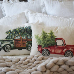Christmas pillow cover, Christmas, Christmas Tree, Vintage christmas,  red Christmas truck, Christmas Car