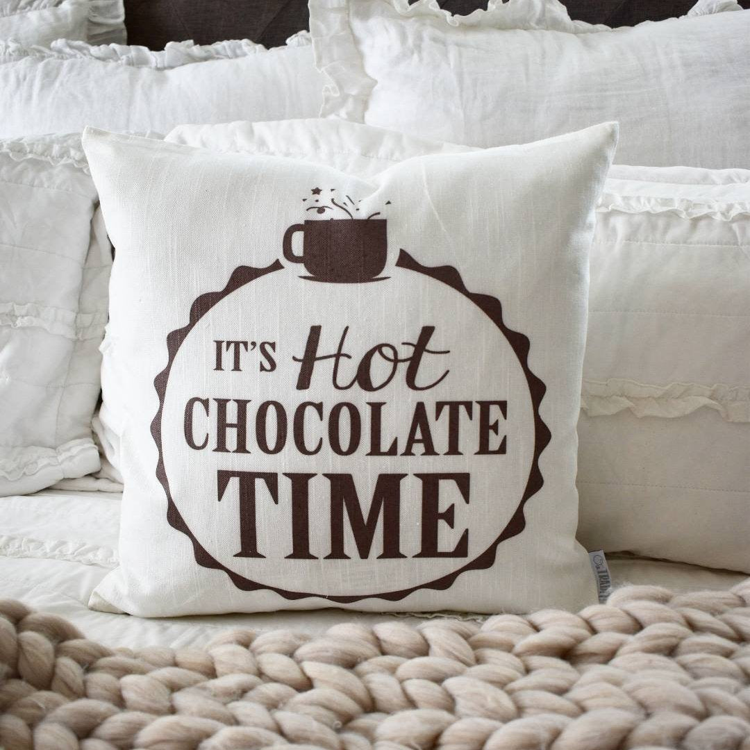 Christmas pillow cover, It's Hot Chocolate Time, Christmas decor