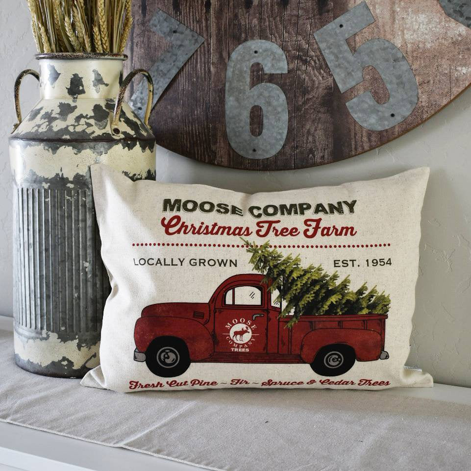 Christmas pillow cover, Christmas decor, Christmas Tree, Merry Christmas pillow, Free farm, Vintage christmas,  red Christmas truck, 14x20,