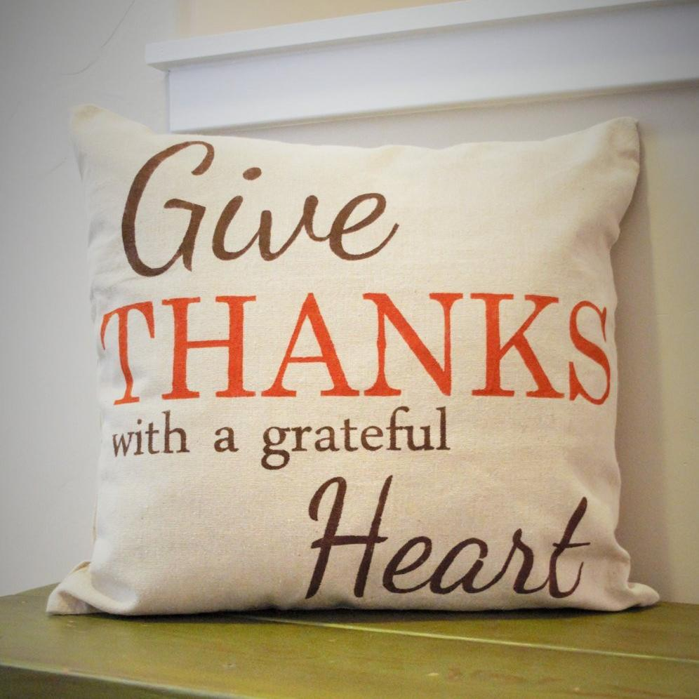 SALE, Fall Pillow Cover, Give Thanks, Fall Decor, Thanksgiving decor