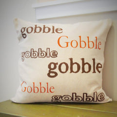 SALE, Fall Pillow Cover, Gobble Gobble, Fall Decor, Thanksgiving, Thanksgiving decor