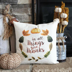 Fall Pillow Cover, Hello Autumn, Fall Decor, Fall pillow, be thankful, thanksgiving pillow, in all things give thanks