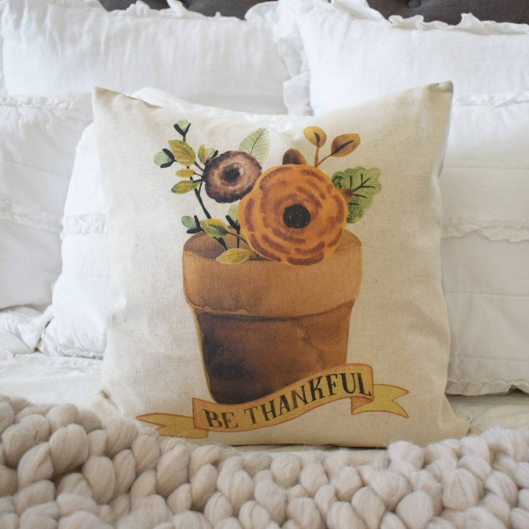 Fall Pillow Cover, be thankful, Fall Decor, Fall pillow
