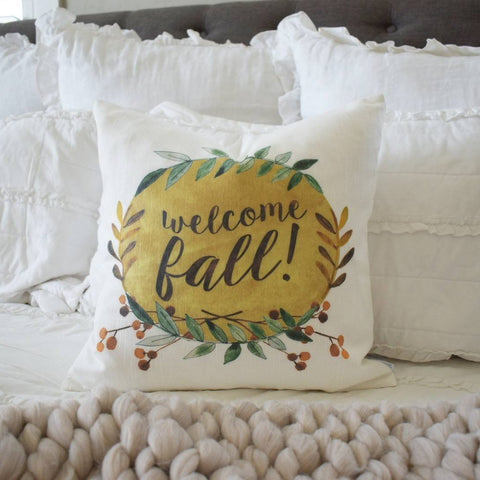 Fall Pillow Cover, welcome fall,  Fall Decor, Fall pillow, pumpkin pillow