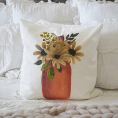 Fall Pillow Cover, welcome fall,  Fall Decor, Fall pillow, fall mason jar, mason jar pillow