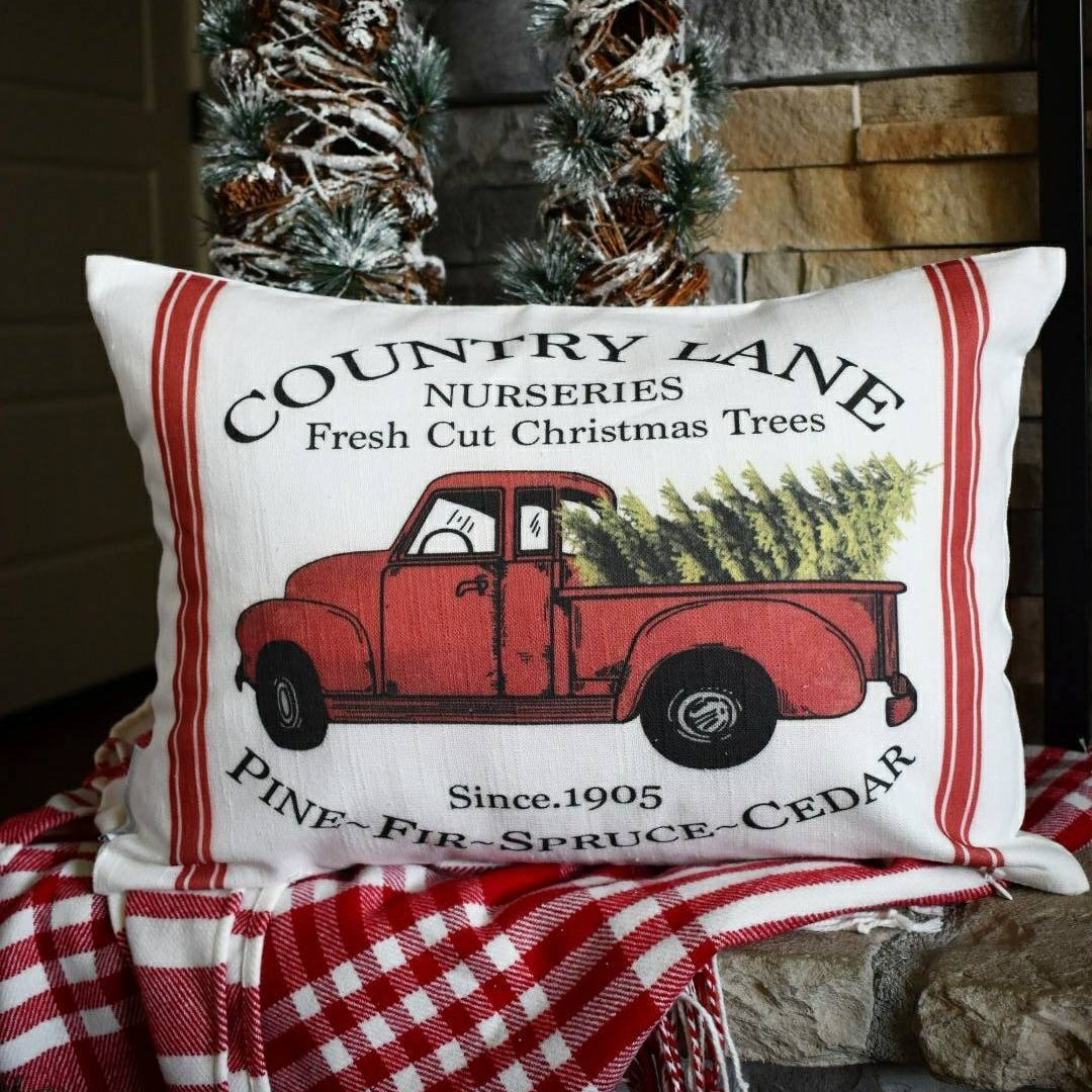Christmas Red Truck.Red Truck Christmas Tree Pillow Cover 14x20
