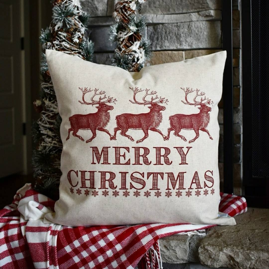 Christmas pillow cover, Christmas decor, Merry Christmas pillow, Christmas Plaid, Vintage christmas, 18x18
