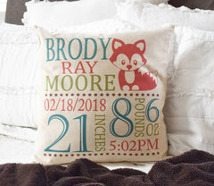 Woodland Nursery, Personalized birth pillow cover, birth Announcement pillow cover, birth pillow cover, FOX Nursery, CUSTOMIZE, 18x18