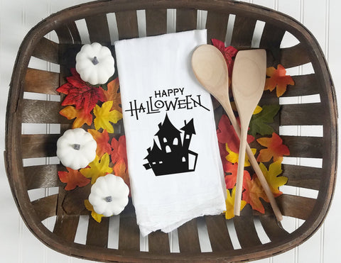 Kitchen towel, dish towel, flour sack towel, tea towel, Halloween kitchen towels,  Halloween Decor, halloween tea towel, happy halloween