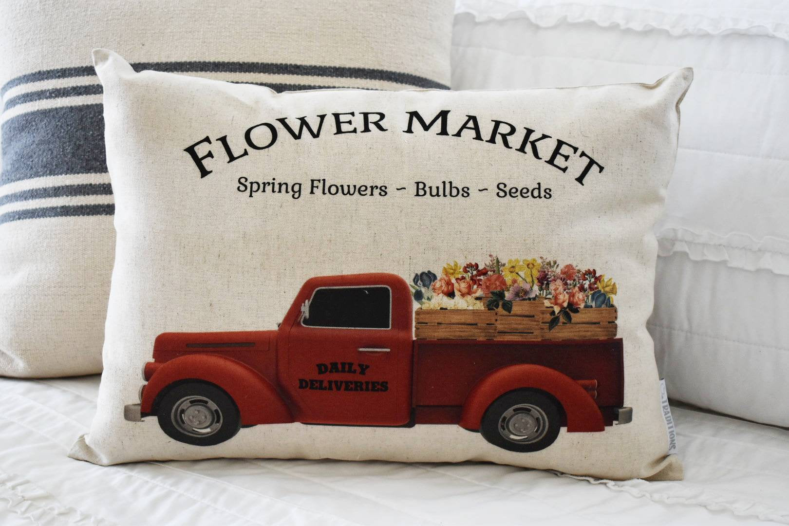 Flower market pillow cover, truck Pillow Cover, Fall pillow cover, 14x20, red truck
