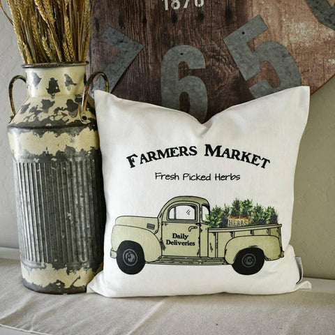 Farmers market pillow cover, truck Pillow Cover, Fall pillow cover, 18x18, red truck