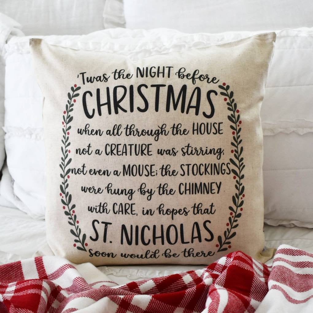 Christmas pillow cover, Twas the night before Christmas, Merry Christmas Pillow, farmhouseChristmas, Christmas Pillow