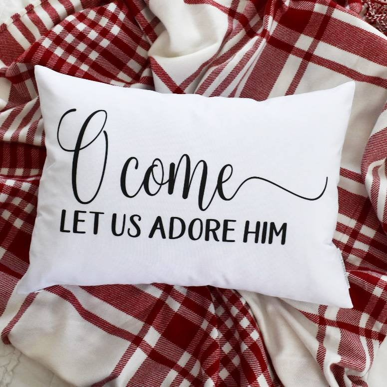 Christmas pillow cover, oh come let us adore him, Merry Christmas Pillow, farmhouse Christmas, Christmas Pillow