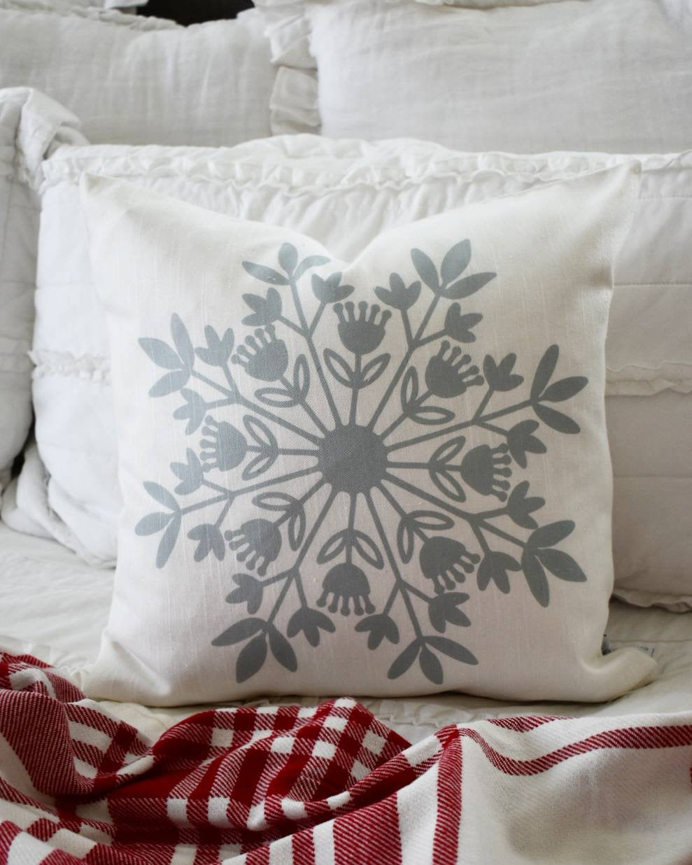 SALE, Christmas pillow, Christmas decor, snowflake pillow, farmhouse Christmas, COVER ONLY