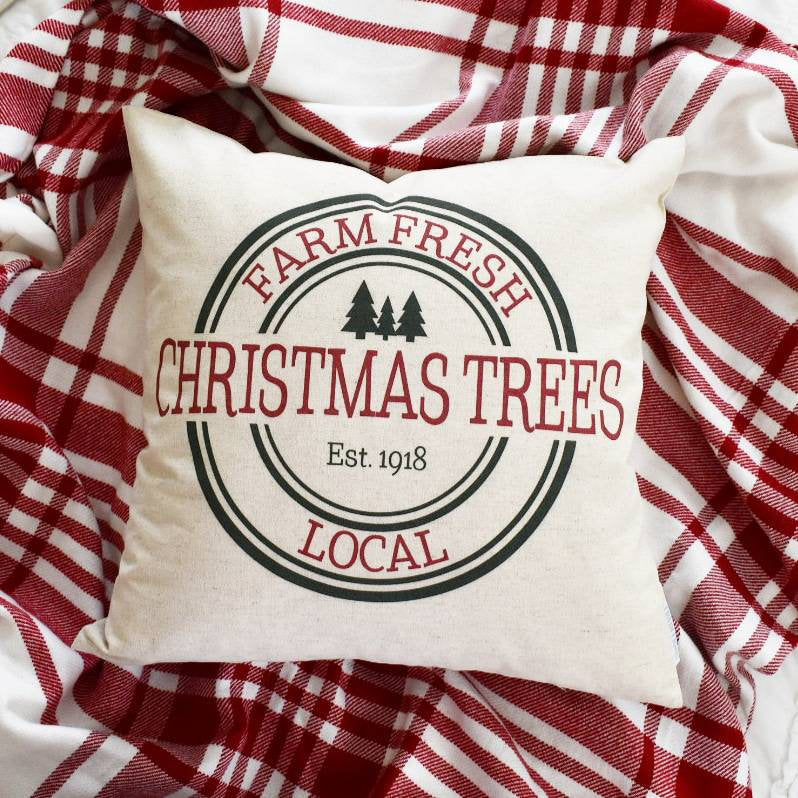 Christmas pillow cover, Christmas Tree Market, farm fresh tree market, Christmas decor,  Merry Christmas pillow,