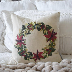 Christmas pillow cover, Christmas decor, Merry Christmas pillow, poinsettia wreath, 18x18