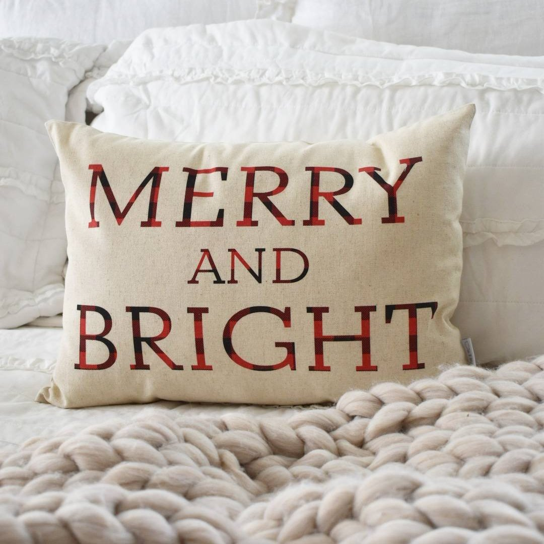 sale christmas pillow cover merry and bright christmas decor buffalo plaid