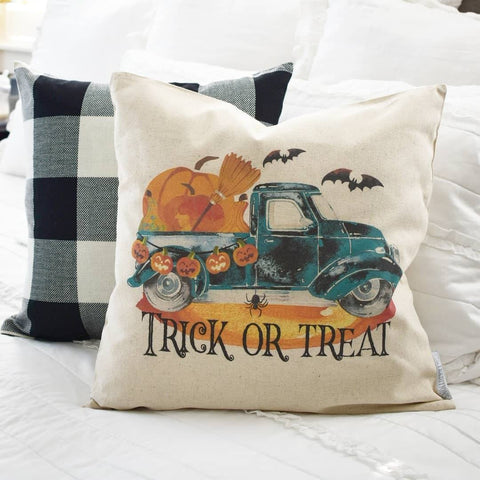 Halloween Pillow Cover, Trick of Treat, You Choose/ Customize Colors, Halloween Decor, Everyday Decor