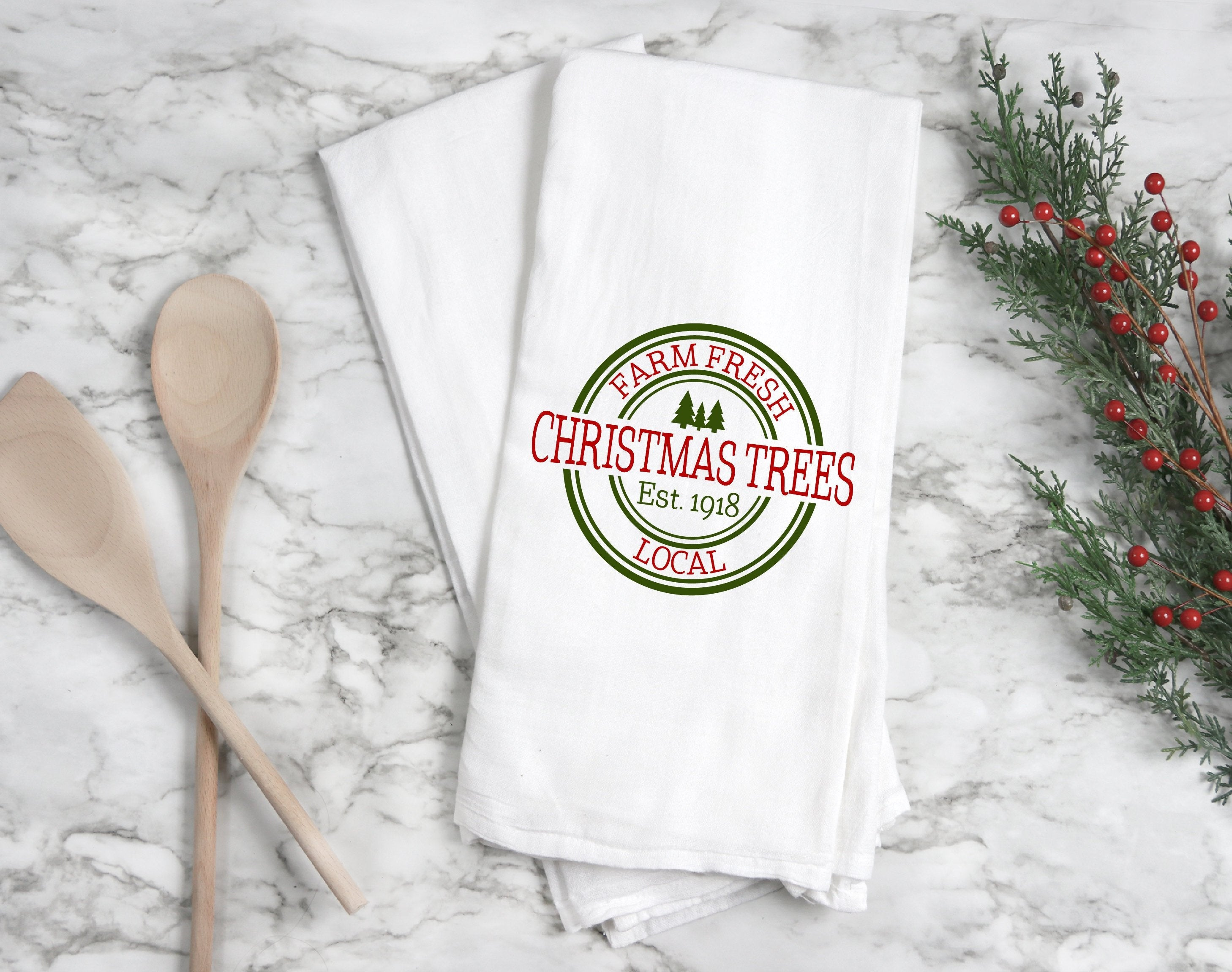 Kitchen towel, dish towel,  tea towel, Christmas kitchen towels, Christmas Decor, Neighbor Christmas Gift,  Decor, christmas tree farm