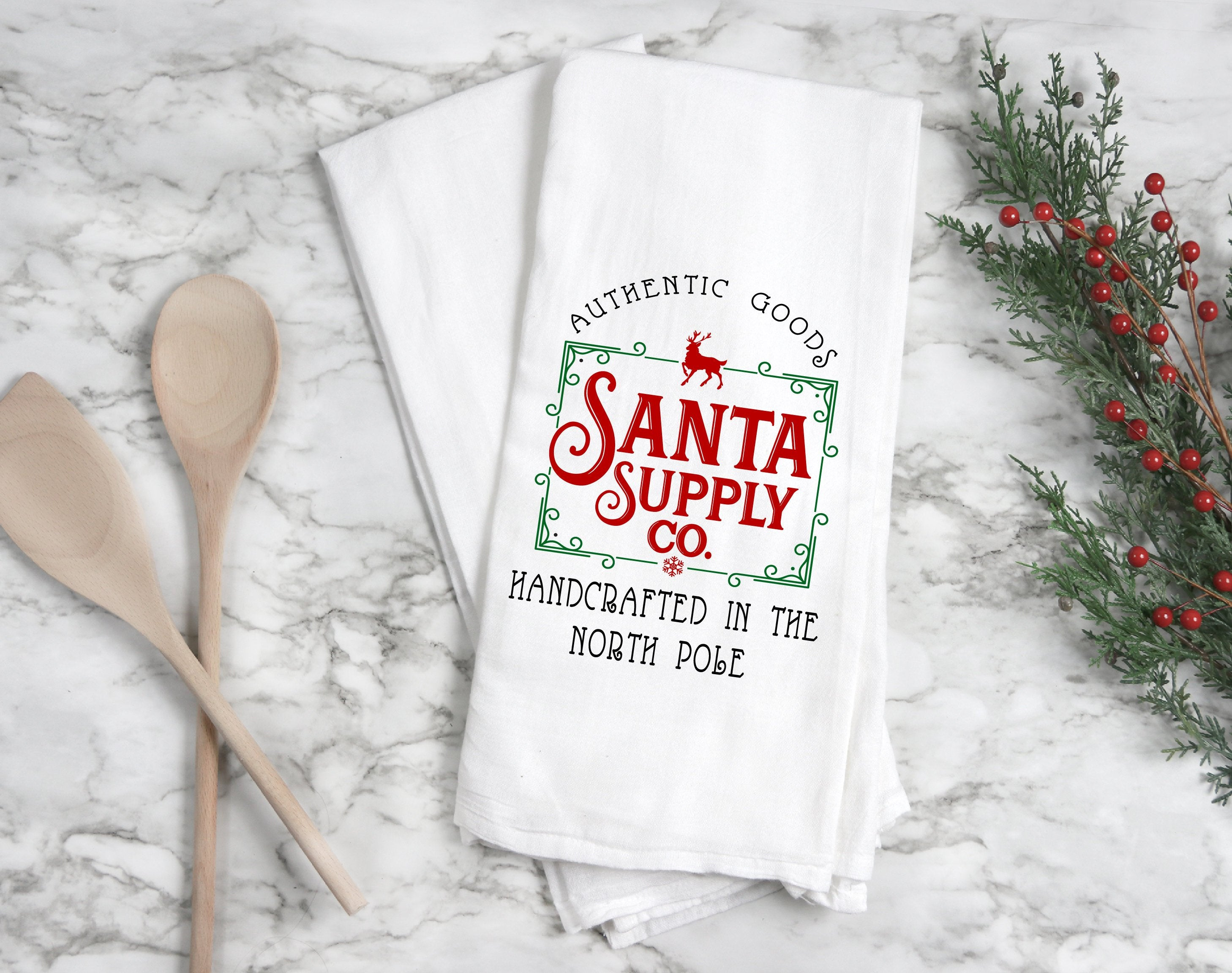 Kitchen towel, dish towel,  tea towel, Christmas kitchen towels, Christmas Decor, Neighbor Christmas Gift,  Decor, santa towel
