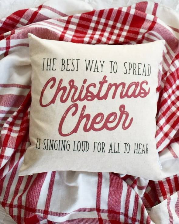 Christmas pillow cover, Christmas decor, Merry Christmas pillow, Christmas Plaid, Vintage christmas, 18x18, elf quotes, Christmas cheer