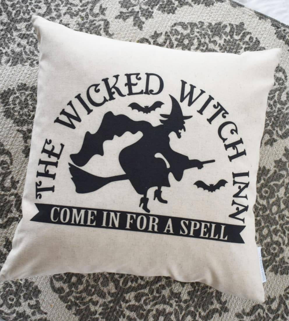 Halloween Pillow Cover, Happy Halloween Pillow Cover, Halloween Decor, wicked witch, witch pillow, Fall pillow