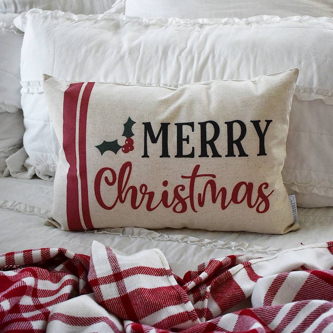 Christmas pillow cover, merry Christmas, grain sack pillow, Merry Christmas Pillow, farmhouse Christmas, Christmas Pillow
