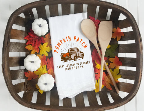 Kitchen towel, tea towel, Fall kitchen towels, Fall Decor, Thanksgiving towel, Thanksgiving  Decor, pumpkin patch, truck towel
