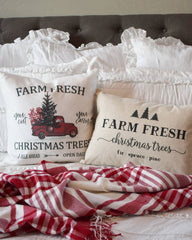 Christmas pillow cover, Christmas, farm fresh tree, red truck, red truck pillow, Christmas pillow
